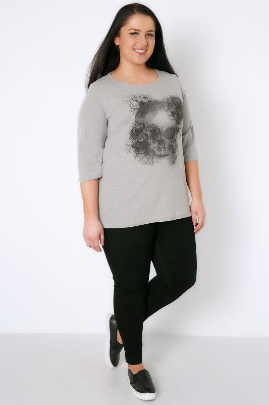 Grey Marl Floral Skull Print T-Shirt With 3/4 Length Sleeves