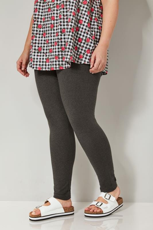 Plus Size Basic Leggings Grey Marl Full Length Leggings