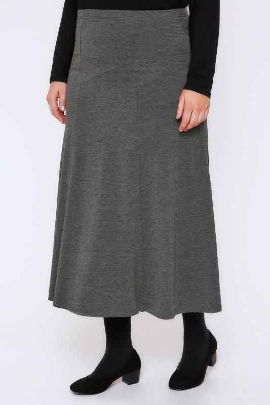 Grey Marl Jersey Maxi Skirt With Panel Detail