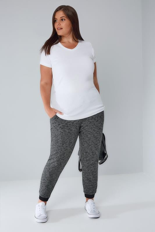 Grey Marl Joggers With Elasticated Waist & Cuff