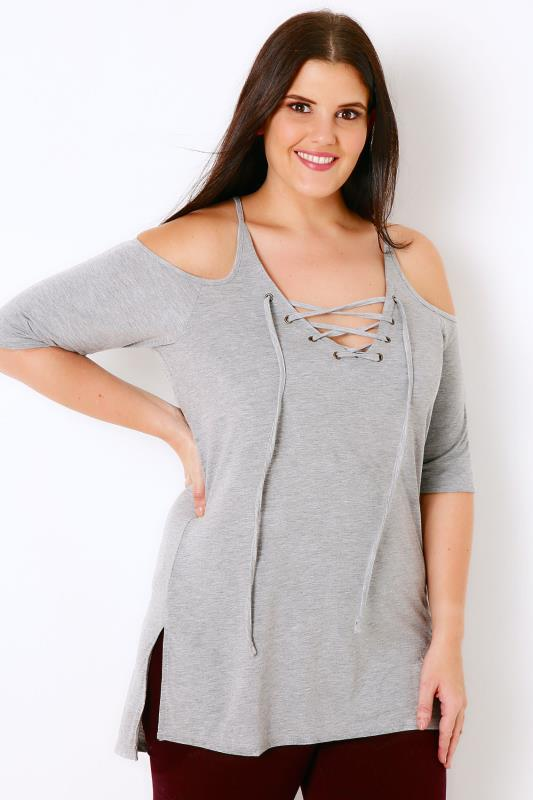 Grey Marl Lace Up Top With Cold Shoulder Cut Outs