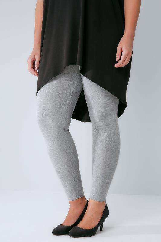 Plus Size Basic Leggings Grey Marl Viscose Elastane Leggings