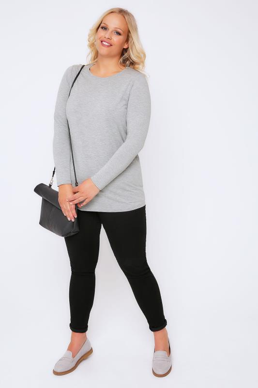 YOURS LONDON Grey Marl Long Sleeve Soft Touch Jersey Top