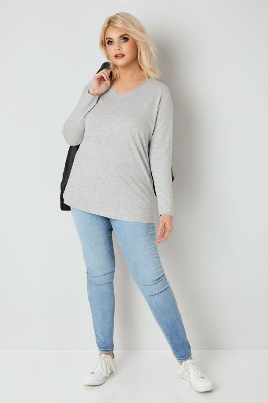 Grey Marl Long Sleeved V-Neck Jersey Top