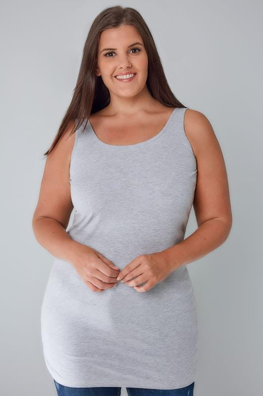 Grey Marl Longline Vest Top