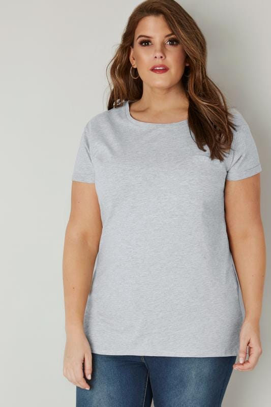 Grey Marl Mock Pocket T-Shirt With Curved Hem
