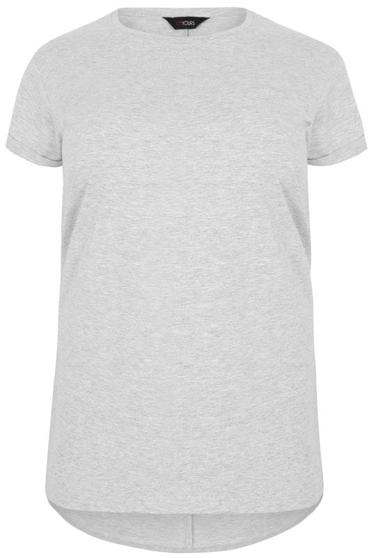 Jersey Tops Grey Marl Mock Pocket T-Shirt With Curved Hem 132621