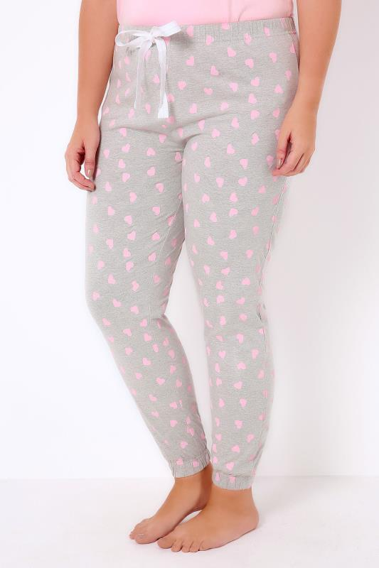 Grey Marl Pyjama Bottoms With Pink Heart Print