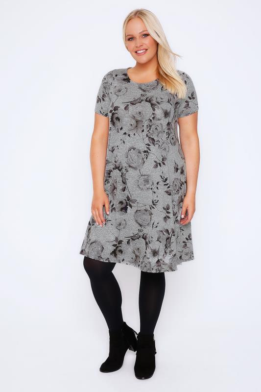 Grey Marl Rose Print Swing Dress