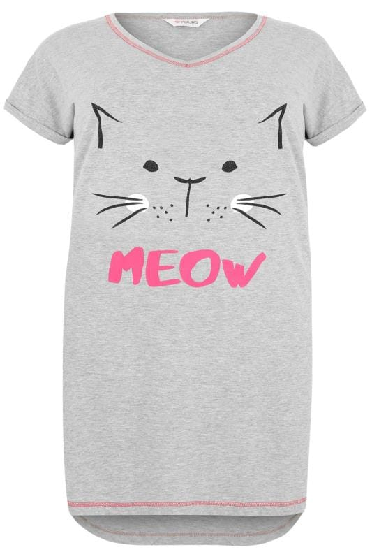 Grey 'Meow' Glitter Cat Nightdress