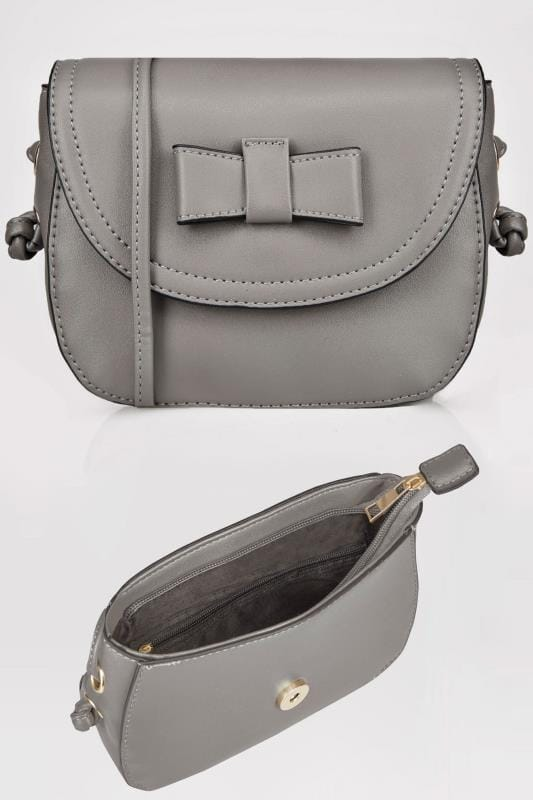 Grey Mini Applique Bow Cross Body Bag With Extended Strap