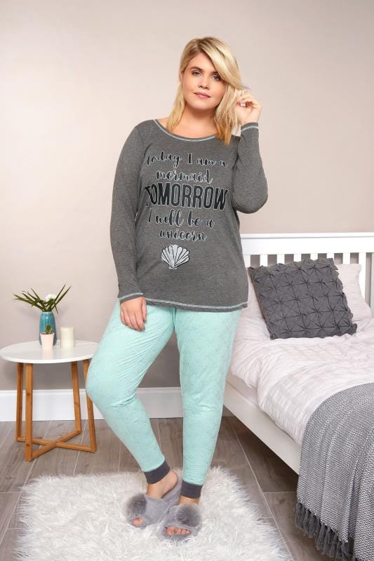 Plus Size Pyjamas Grey & Mint Green 'Today, Tomorrow' Slogan Pyjama Set