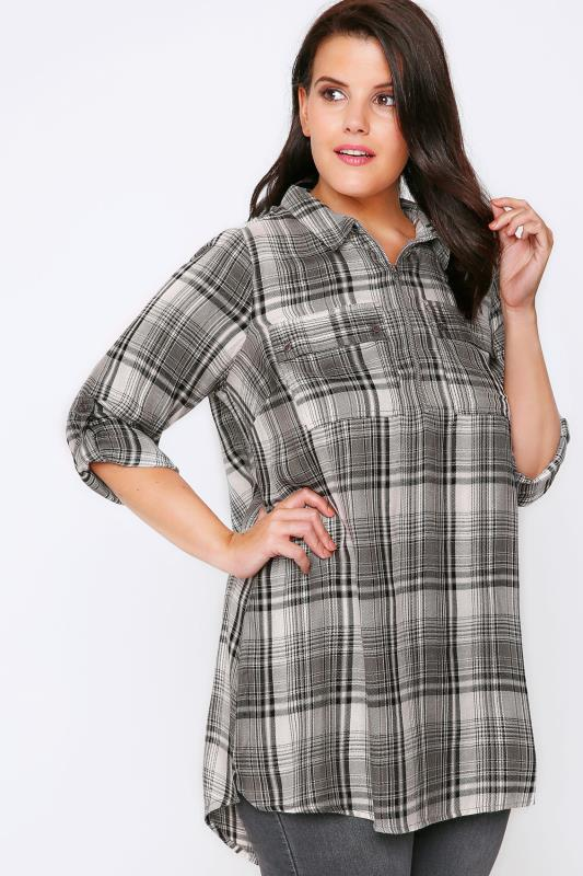 Grey Mix Check Zip Front Woven Shirt With 3/4 Length Sleeves