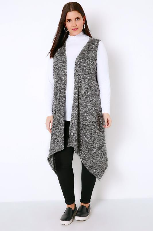 Grey Mix Longline Sleeveless Cardigan