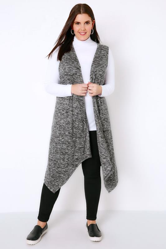 Shrugs Grey Mix Sleeveless Longline Knitted Waistcoat Wrap 134032