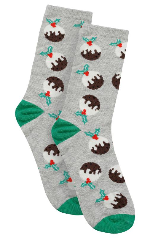 Grey & Multi Christmas Pudding Socks In Gift Bauble
