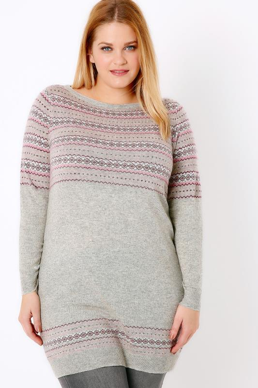 Grey & Multi Fairisle Longline Knit Jumper With Sparkle Detail