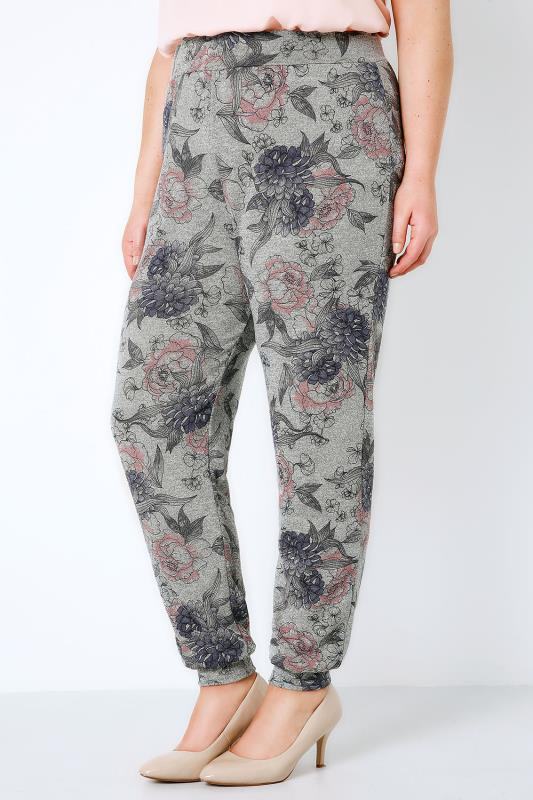 Grey & Multi Floral Print Cut & Sew Knit Jogger-Style Harems