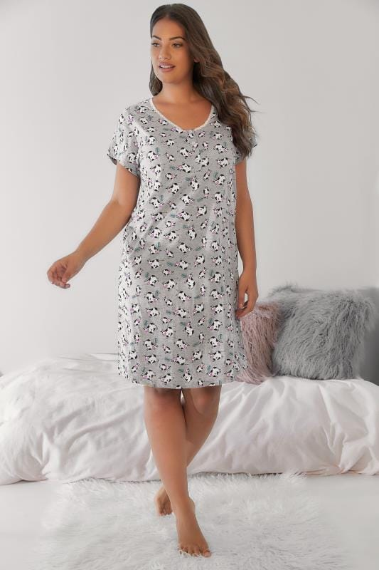 Grey & Multi Moo Cow Print Nightdress