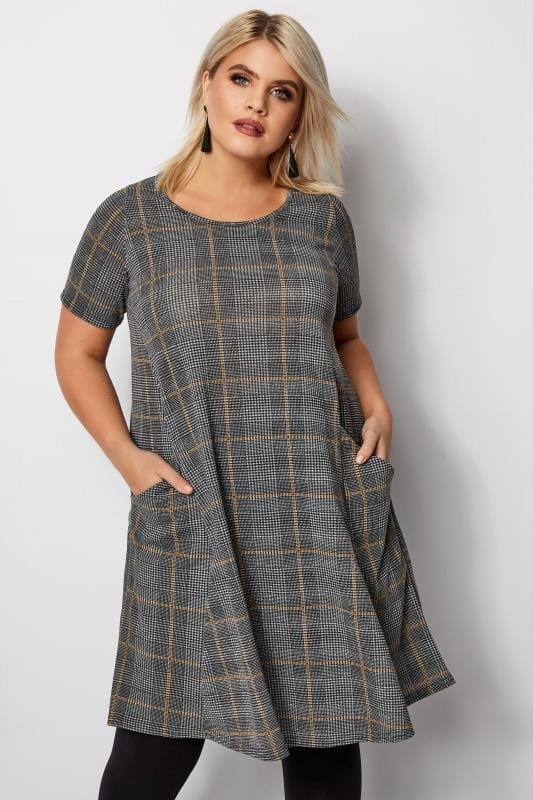 Plus Size Sleeved Dresses Grey & Mustard Check Drape Pocket Dress