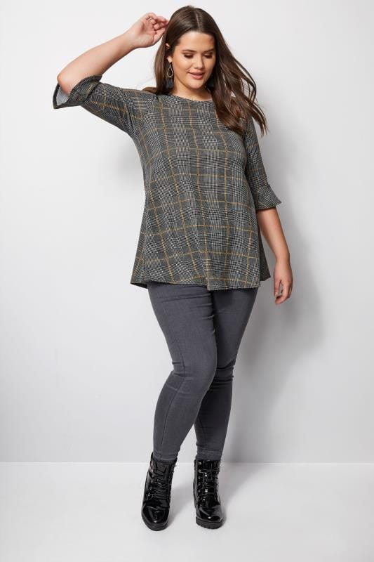 Grey & Mustard Check Top With Frill Sleeves