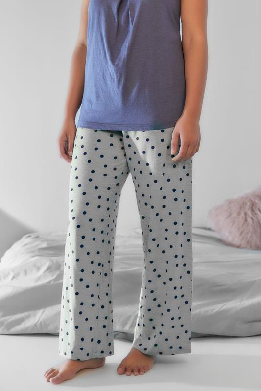 Grey & Navy Spot Print Pyjama Bottoms