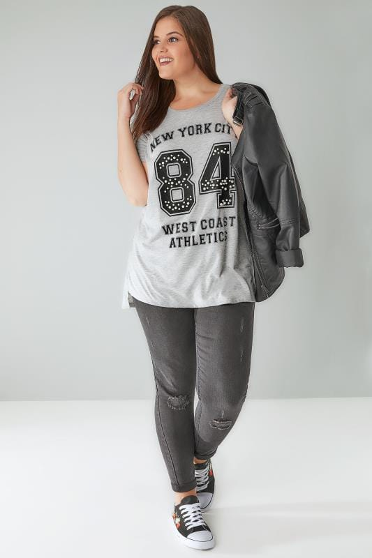 Grey 'New York City' Varsity Top With Pearl Details