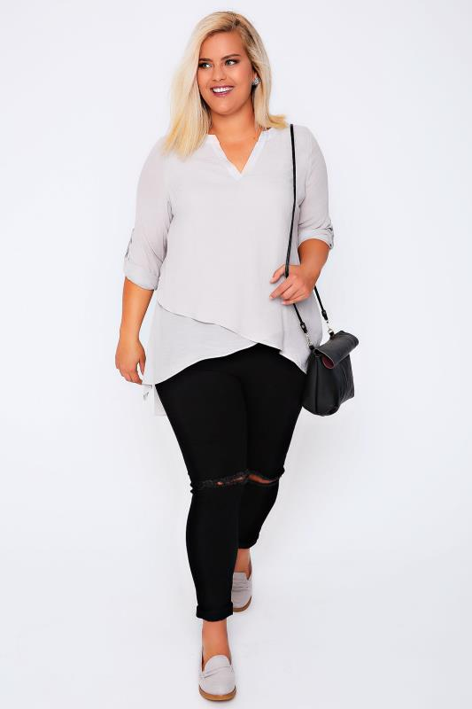 Grey Notch Neck Silky Layer Blouse