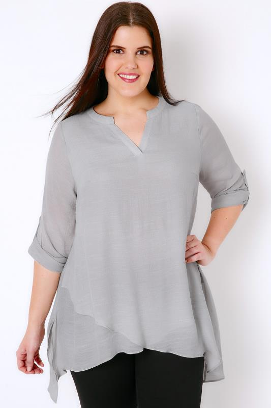 Grey Layered Blouse With Notch Neck