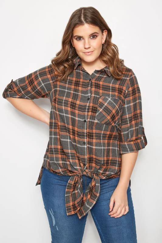 Plus Size Shirts Grey & Orange Checked Knot Shirt