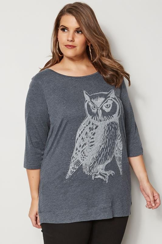 Plus Size Day Tops Grey Owl Print Cross Back T-Shirt