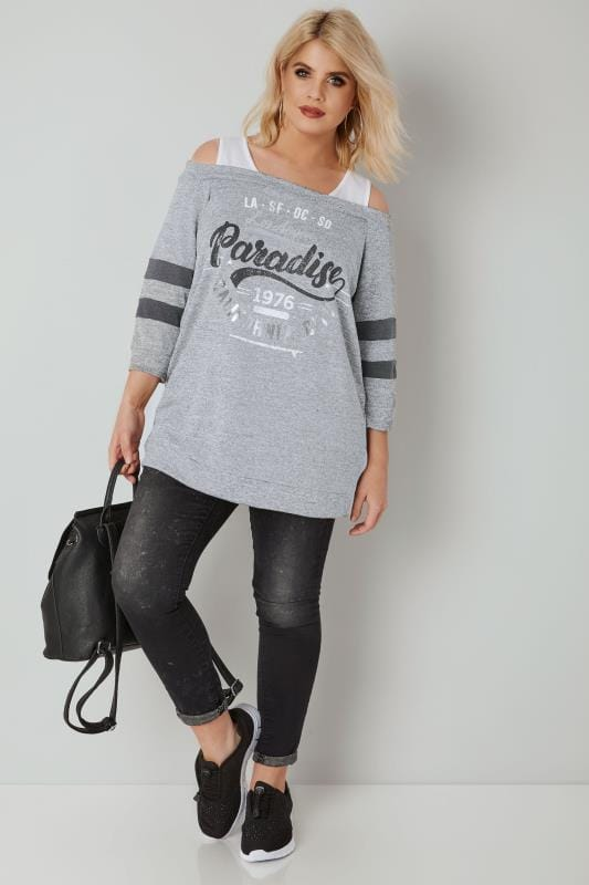 Grey 'Paradise' Foil Slogan Cold Shoulder Top