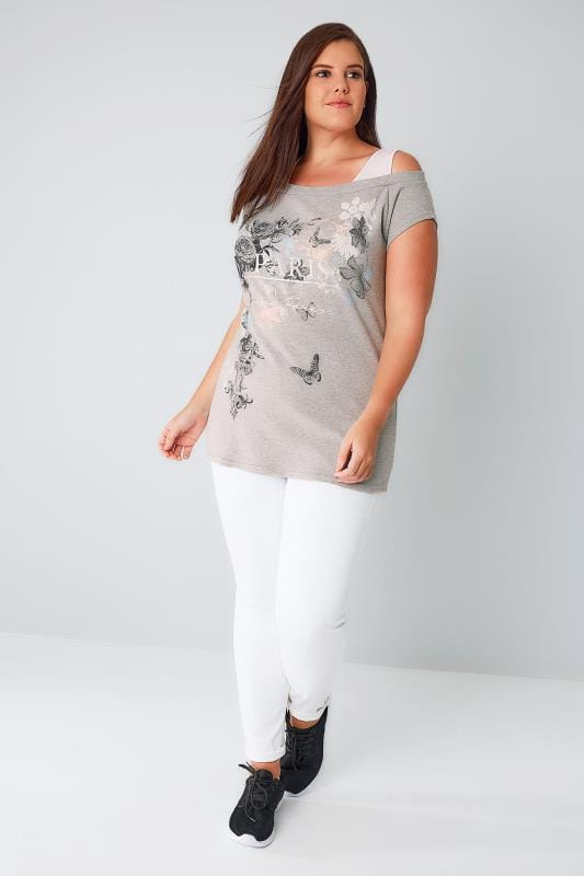"Grey ""Paris Love Forever"" Print 2 In 1 Bardot Top"