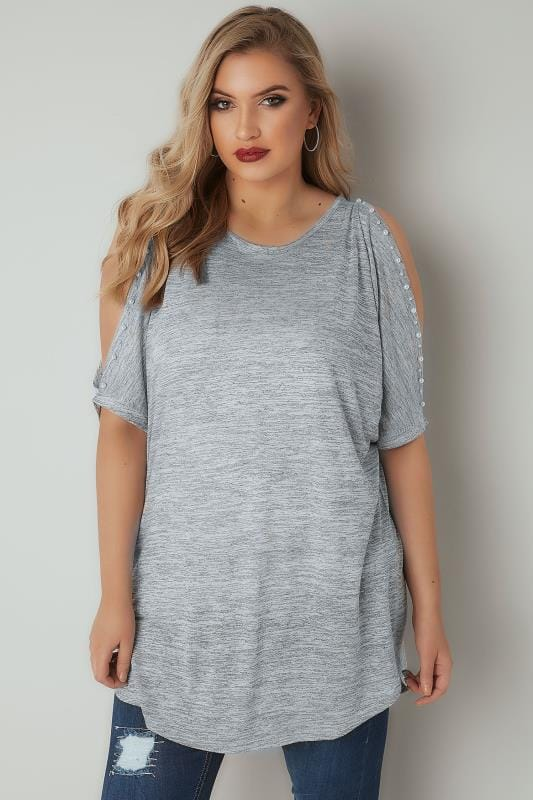 Plus Size Jersey Tops Grey Pearl Embellished Top With Split Sleeves