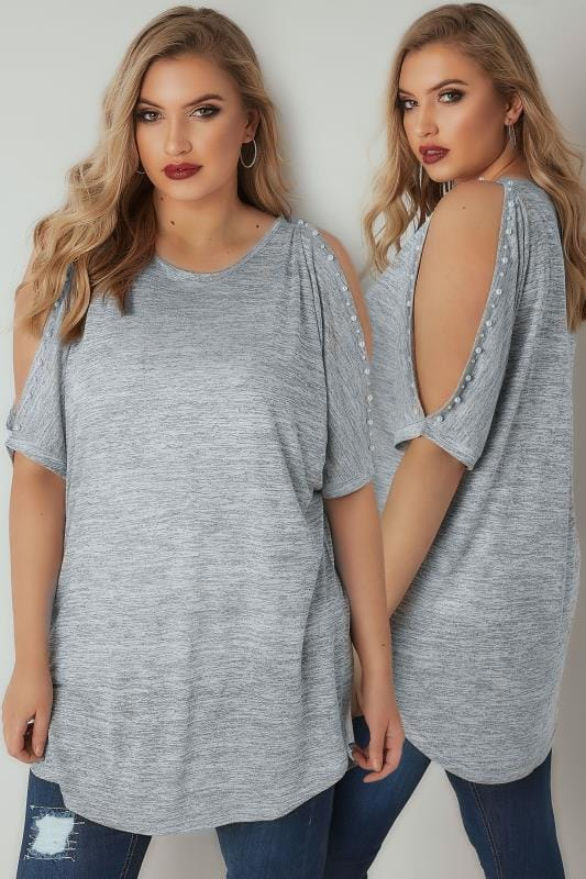 Jersey Tops Grey Pearl Embellished Top With Split Sleeves 132540