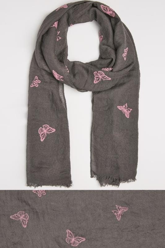 Grey & Pink Butterfly Print Scarf
