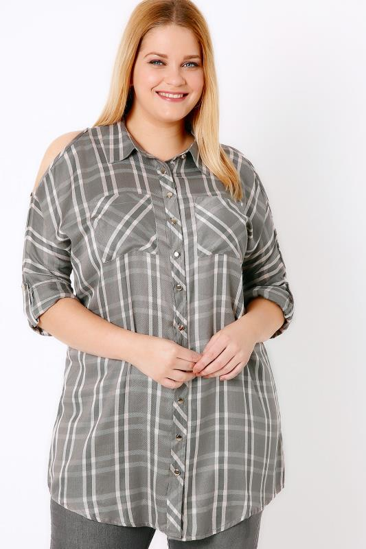 Grey & Pink Checked Cold Shoulder Shirt