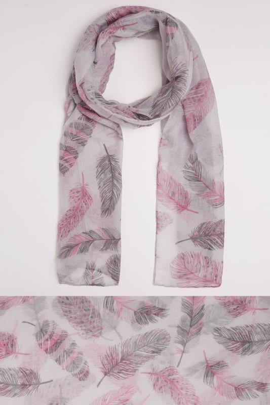 Plus Size Scarves Grey & Pink Feather Print Scarf