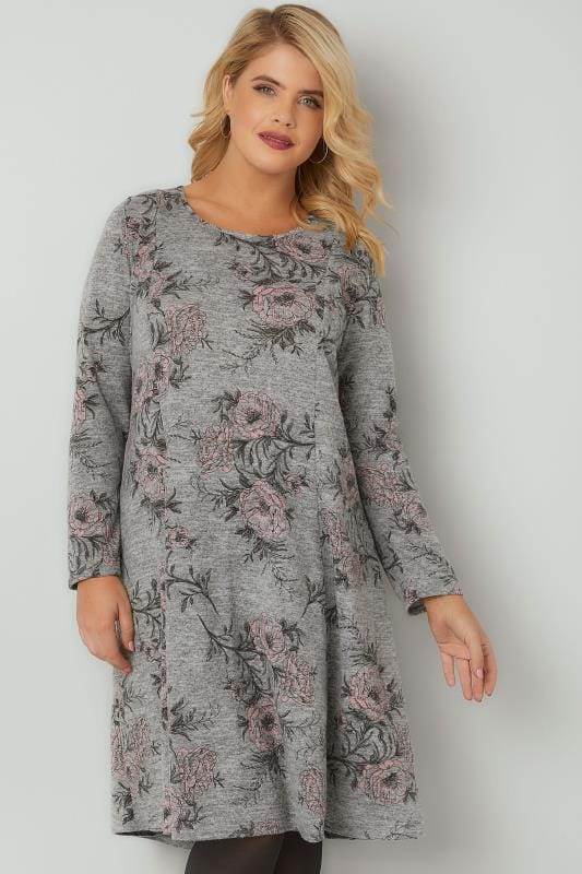 Sleeved Dresses Grey & Pink Floral Print Fine Knit Panelled Dress 136216