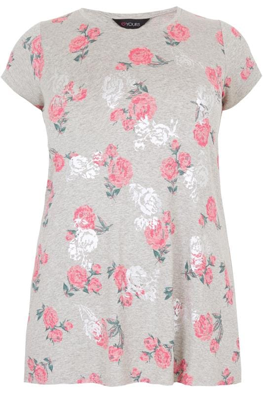 Grey & Pink Foil Rose Print T-Shirt