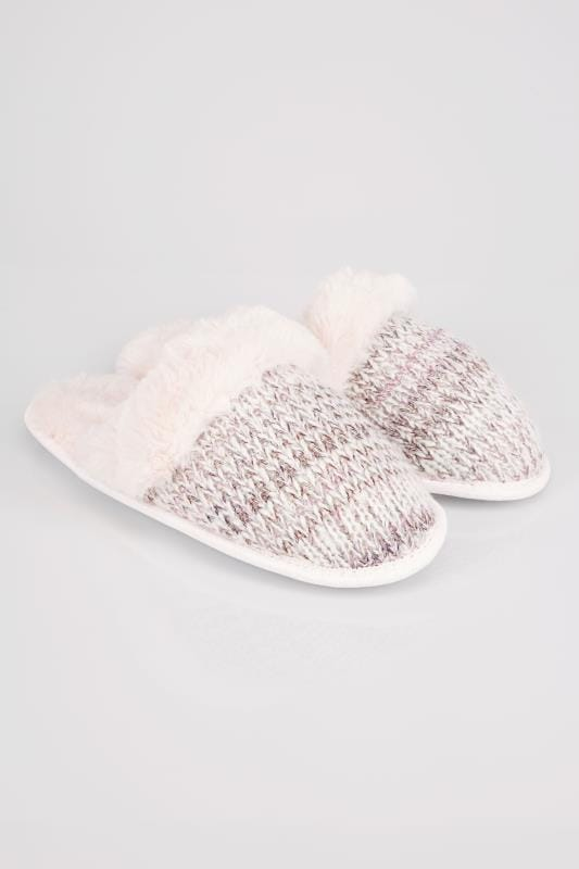 Grey & Pink Sparkle Knitted Mule Slipper With Faux Fur Cuff