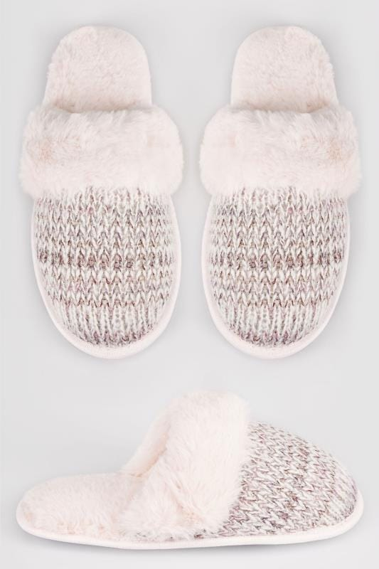 Wide Fit Slippers Grey & Pink Sparkle Knitted Mule Slipper With Faux Fur Cuff
