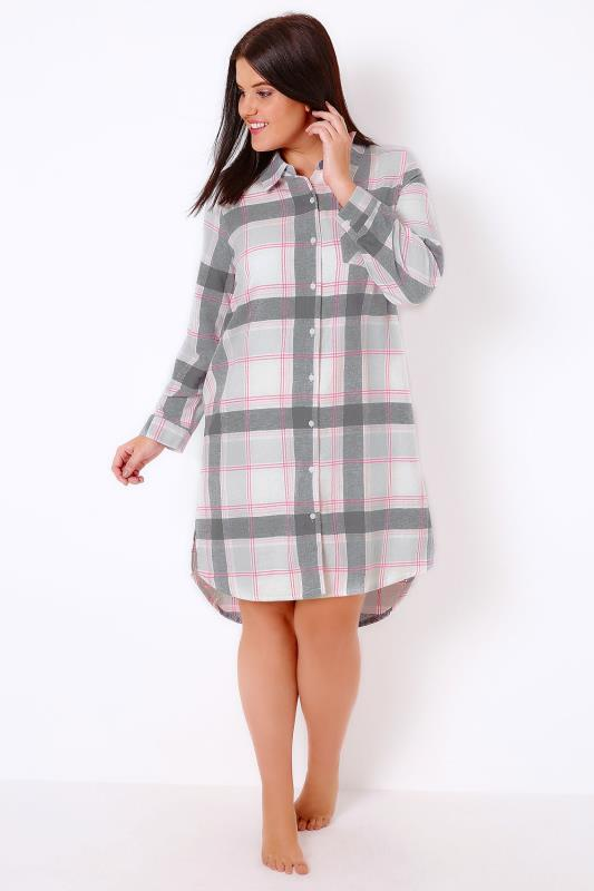 Grey, Pink & White Checked Longline Nightshirt