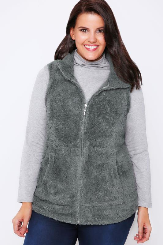 Grey Plain Fluffy Fleece Gilet With Zip Front And Pocket Detail