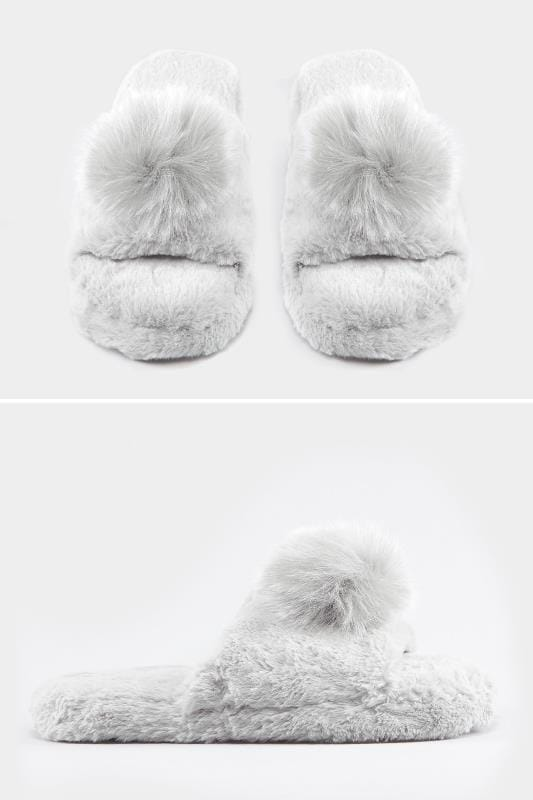 Wide Fit Slippers Grey Plush Fur Pom Slider