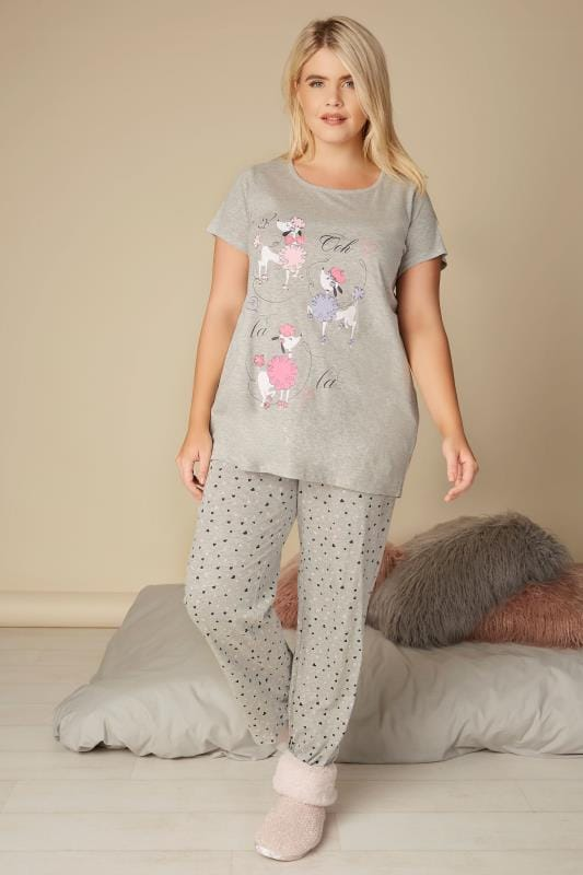 Grey Poodle Pyjama Top