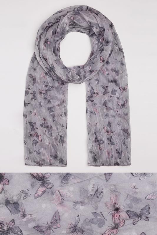 Grey & Purple Butterfly Print Crinkled Scarf