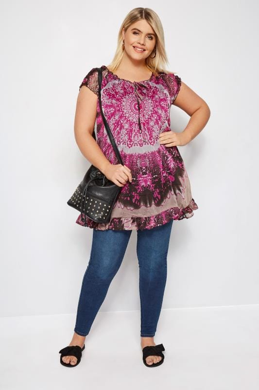 Plus Size Day Tops Grey & Purple Printed Gypsy Top