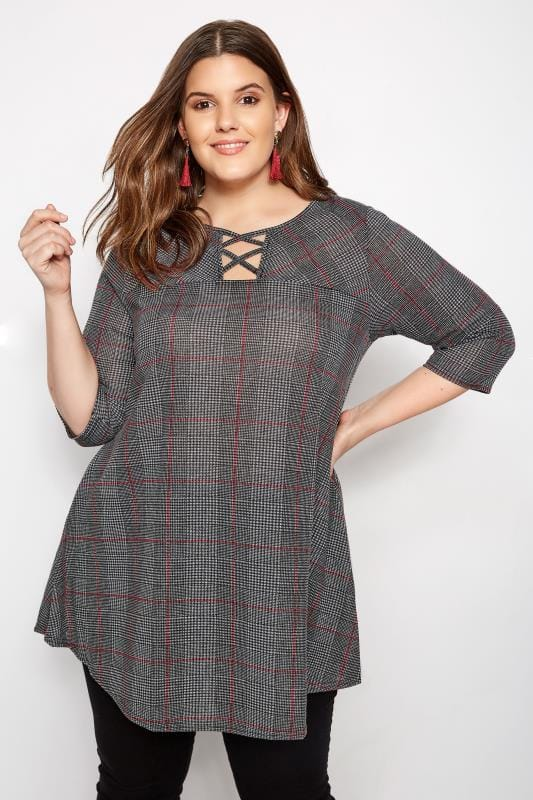 Plus Size Day Tops Grey & Red Check Top