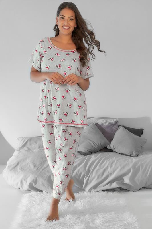Grey & Red Christmas Robin Print Pyjama Set